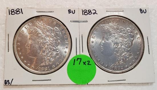1881, 1882 MORGAN SILVER DOLLARS - 2 TIMES MONEY