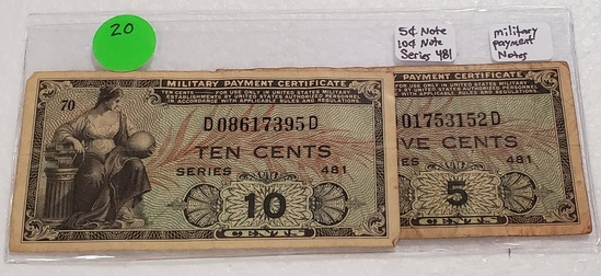 2 SERIES 481 MILITARY PAYMENT NOTES - 5 CENTS, 10 CENTS