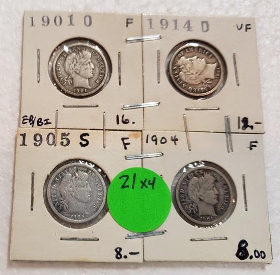 1901-O, 1904, 1905-S, 1914-D BARBER DIMES - 4 TIMES MONEY