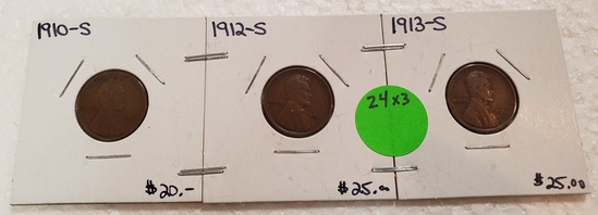1910-S, 1912-S, 1913-S LINCOLN WHEAT CENTS - 3 TIMES MONEY