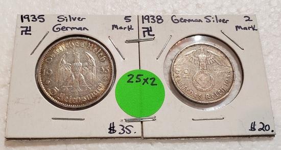1935, 1938 GERMAN SILVER COINS - 5 MARK, 2 MARK - 2 TIMES MONEY