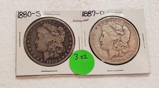 1880-S, 1887-O MORGAN SILVER DOLLARS - 2 TIMES MONEY