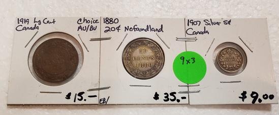 1880 NEWFOUNDLAND, 1907 CANADA, 1919 CANADA COINS - 3 TIMES MONEY