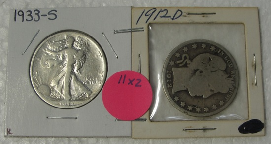 1912-D BARBER, 1933-S WALKING LIBERTY HALF DOLLARS - 2 TIMES MONEY
