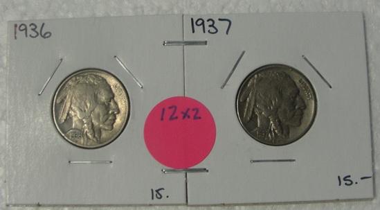 1936, 1937 BUFFALO NICKELS - 2 TIMES MONEY