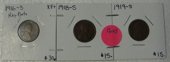1916-S, 1918-S, 1919-S LINCOLN WHEAT CENTS - 3 TIMES MONEY