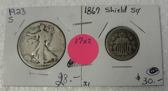 1867 SHIELD NICKEL, 1923-S WALKING LIBERTY HALF DOLLAR - 2 TIMES MONEY