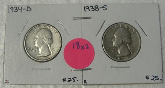 1934-D, 1938-S SILVER WASHINGTON QUARTERS - 2 TIMES MONEY