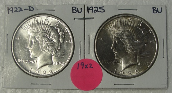 1922-D, 1925 BU SILVER PEACE DOLLARS - 2 TIMES MONEY
