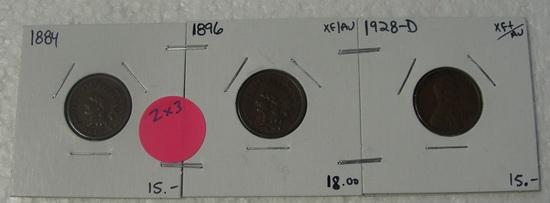 1884, 1896 INDIAN HEAD, 1928-D LINCOLN WHEAT CENTS - 3 TIMES MONEY