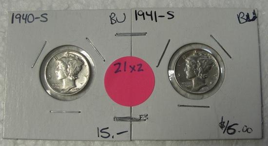 1940-S, 1941-S BU MERCURY DIMES - 2 TIMES MONEY