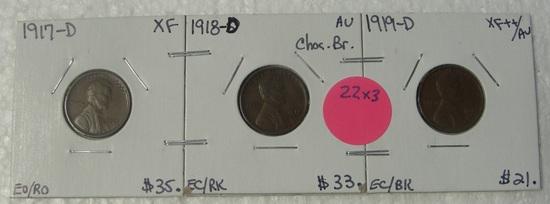 1917-D, 1918-D, 1919-D LINCOLN WHEAT CENTS - 3 TIMES MONEY