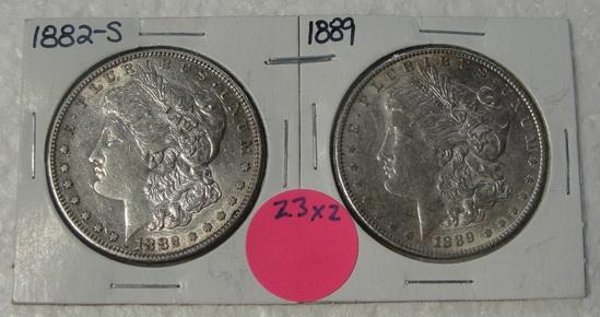 1882-S, 1889 MORGAN SILVER DOLLARS - 2 TIMES MONEY