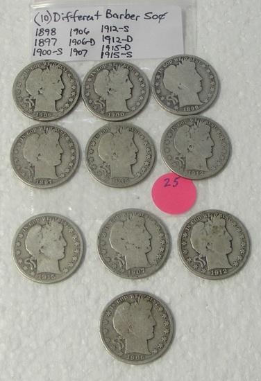 10 DIFFERENT BARBER HALF DOLLARS - 1897-1915