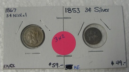 1853 SILVER, 1867 NICKEL THREE CENT COINS - 2 TIMES MONEY