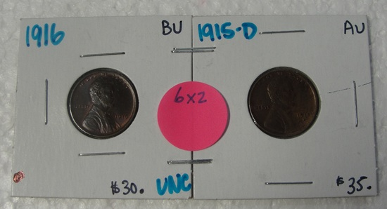 1915-D, 1916 LINCOLN WHEAT CENTS - 2 TIMES MONEY