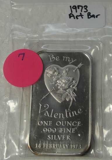 1973 BE MY VALENTINE ONE OUNCE SILVER ART BAR