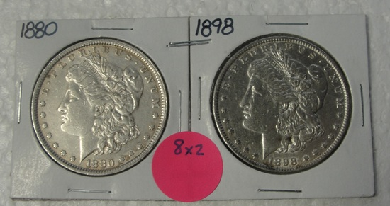 1880, 1898 MORGAN SILVER DOLLARS - 2 TIMES MONEY