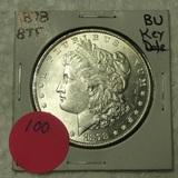 1878-8TF BU MORGAN SILVER DOLLAR