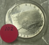 1991 BILL OF RIGHTS ONE TROY OUNCE SILVER ROUND