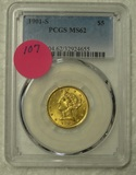 1901-S LIBERTY 5 DOLLAR GOLD COIN - GRADED MS62