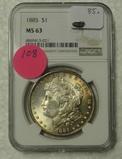 1885 MORGAN SILVER DOLLAR - GRADED MS63