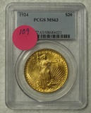 1924 ST. GAUDENS 20 DOLLAR GOLD COIN - GRADED MS63
