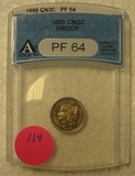 1880 COPPER NICKEL THREE CENT COIN - GRADED PROOF 64
