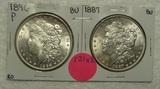 1887, 1896 BU MORGAN SILVER DOLLARS - 2 TIMES MONEY