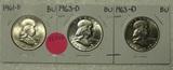 1961-D, 2 - 1963-D BU FRANKLIN HALF DOLLARS - 3 TIMES MONEY