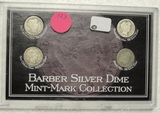 BARBER SILVER DIME MINT MARK COLLECTION W/CASE