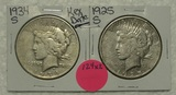 1925-S, 1934-S SILVER PEACE DOLLARS - 2 TIMES MONEY