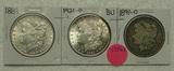 1889, 1891-O, 1921 MORGAN SILVER DOLLARS - 3 TIMES MONEY