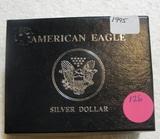 1995 BU SILVER EAGLE DOLLAR W/BOX