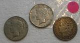 3 SILVER DOLLARS - 1921-S MORGAN, 1922-D, 1923-S PEACE DOLLARS