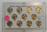 CHOICE BU SET OF U.S. WARTIME SILVER NICKELS W/CASE - 11 COINS