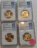 2015 FIRST DAY OF ISSUE ANNUAL DOLLAR COIN SET - 4 COINS, GRADED MS67