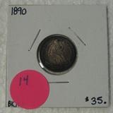 1890 SEATED LIBERTY DIME W/TONING