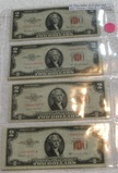 4 RED SEAL TWO DOLLAR STAR NOTES - 1953, 53-A, 53-B, 53-C