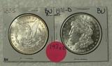 1885, 1921-D BU MORGAN SILVER DOLLARS - 2 TIMES MONEY