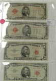 4 RED SEAL 5 DOLLAR NOTES - 2 - 1928-C, 1953-A, 1963