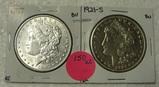 1897, 1921-S BU MORGAN SILVER DOLLARS - 2 TIMES MONEY