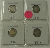4 BARBER DIMES - 1907, 1911, 1912, 1914