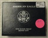 2007 SILVER EAGLE PROOF DOLLAR W/BOX