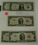 5 STAR NOTES - 2 ONE DOLLAR SILVER CERTIFICATES, 3 TWO DOLLAR RED SEALS