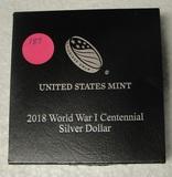 2018 WORLD WAR I CENTENNIAL SILVER DOLLAR W/BOX