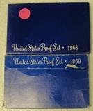 1968, 1969 U.S. PROOF SETS W/SLEEVES