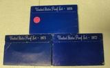 1970, 1971, 1972 U.S. PROOF SETS W/SLEEVES