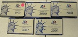 5 U.S. PROOF SETS W/STATE QUARTERS, BOXES - CONSECUTIVE 1999-2003