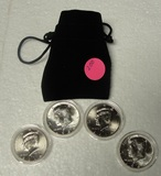 2 - 1964, 2 - 2014 KENNEDY HALF DOLLARS W/CLOTH BAG